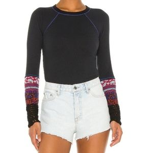Free People In The Mix Cuff Black Thermal Tee NWT